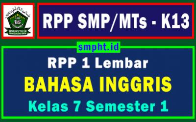 RPP 1 Lembar Bahasa Inggris Ganjil Kelas 7 Tahun 2021-2022