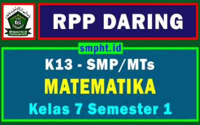 RPP Daring MTK Kelas 7 SMP Format 1 Lembar Tahun 2021-2022