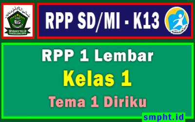 RPP 1 Lembar Kelas 1 Tema 1 SD/MI Kurikulum 2013 Tahun Pelajaran 2021-2022 (Diriku)