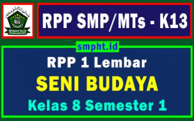 RPP 1 Lembar Seni Budaya Kelas 8 Semester Ganjil Tahun 2021