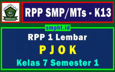 Lengkap RPP 1 Lembar PJOK K13 Kelas 7 Tingkat SMP Semester 1 Tahun 2021-2022