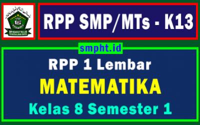 RPP 1 Lembar Matematika Kelas 8 Semester Ganjil Tahun 2021