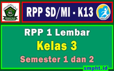 RPP 1 Lembar Kelas 3 SD/MI Kurikulum 2013 Tahun Pelajaran 2021 - 2022