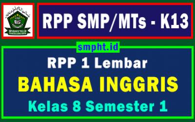 RPP 1 Lembar Bahasa Inggris Kelas 8 Semester Ganjil Tahun 2021