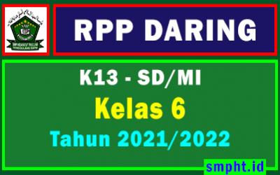 RPP Daring 1 Lembar Kelas 6 SD Semester 1 dan 2 Tahun 2021-2022