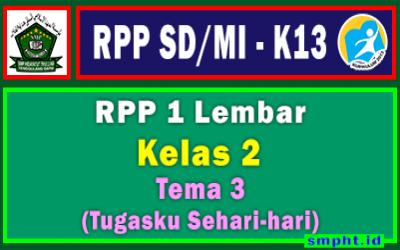 RPP 1 Lembar Kelas 2 Tema 3 SD/MI Kurikulum 2013 Tahun Pelajaran 2021-2022