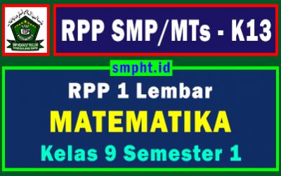 RPP 1 Lembar Matematika Kelas 9 Semester Ganjil Tahun 2021-2022