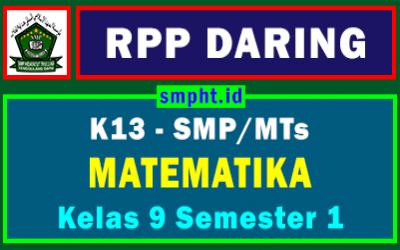 RPP Daring MTK Kelas 9 SMP Format 1 Lembar Tahun 2021-2022