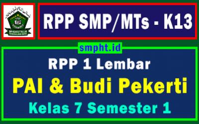 Lengkap RPP 1 Lembar PAI Kelas 7 SMP Semester 1 Tahun 2021-2022