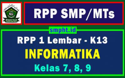 RPP 1 Lembar Informatika SMP Kelas 7, 8, 9 Kurikulum 2013 Tahun 2021-2022